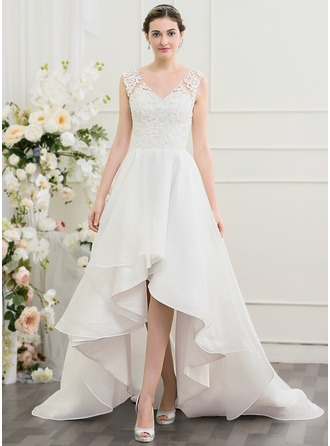 A-Line/Princess V-neck Asymmetrical Organza Wedding Dress With Beading Sequins