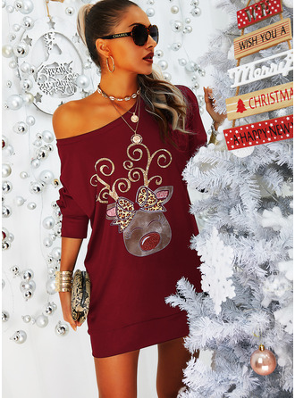 Leopard Animal Print Shift Long Sleeves Mini Casual Christmas Sweatshirt Dresses
