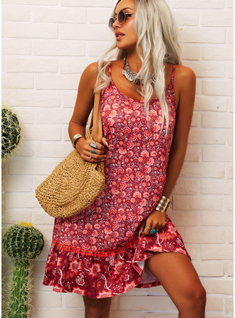 Floral Print Shift Sleeveless Mini Casual Type Dresses