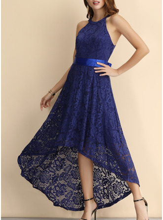 Lace Solid A-line Sleeveless Asymmetrical Party Vintage Elegant Skater Dresses