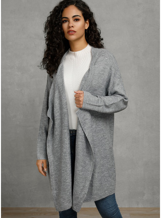 Solid Polyester Cotton Cardigans Sweaters