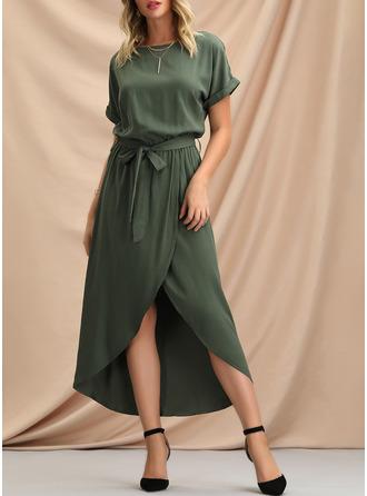 Solid A-linjeklänning Korta ärmar Asymmetrisk Fritids Modeklänningar
