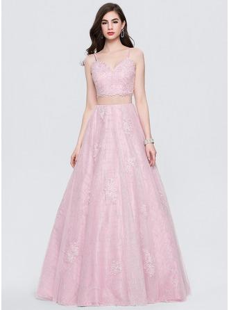 Ball-Gown V-neck Floor-Length Tulle Evening Dress