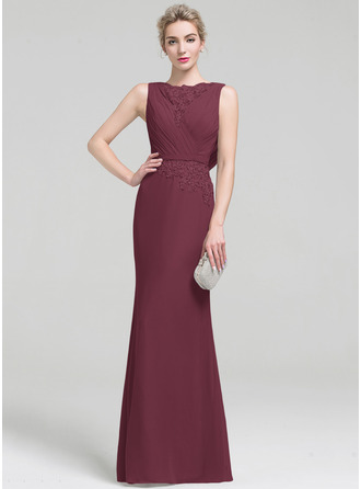 Sheath/Column Scoop Neck Floor-Length Chiffon Lace Evening Dress With Ruffle Beading Sequins