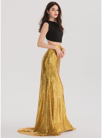 Trumpet/Mermaid Scoop Neck Sweep Train Sequined Prom Dress