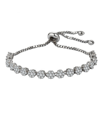 Anti-oxidation Link & Chain Bridesmaid Bracelets Bolo Bracelets With Cubic Zirconia -