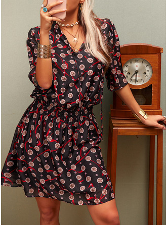 Print A-line 3/4 Sleeves Mini Casual Elegant Skater Dresses