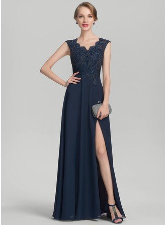 A-Line/Princess V-neck Floor-Length Chiffon Lace Evening Dress With Beading Split Front