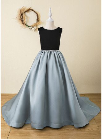 A-Line Floor-length Flower Girl Dress - Velvet Sleeveless Scoop Neck