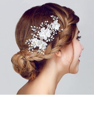 Beau Strass/Alliage/Soie artificielle Fleurs et plumes avec Perle Vénitienne