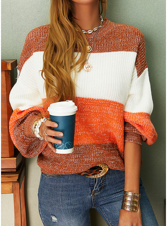 Crew Neck Casual Color Block Sweaters