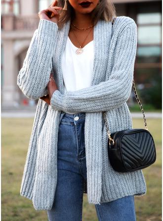 Casual Largo Sólido Punto Grueso Suéteres
