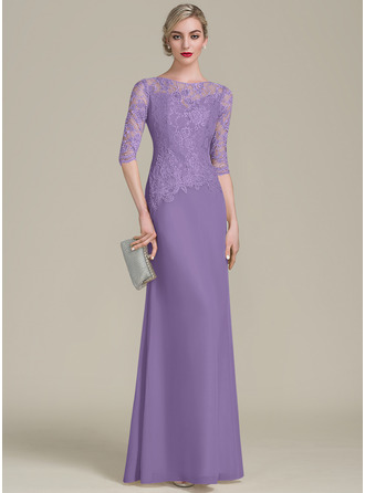 A-Line/Princess Scoop Neck Floor-Length Chiffon Lace Evening Dress