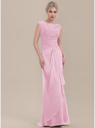 Sheath/Column Scoop Neck Floor-Length Chiffon Lace Bridesmaid Dress With Cascading Ruffles