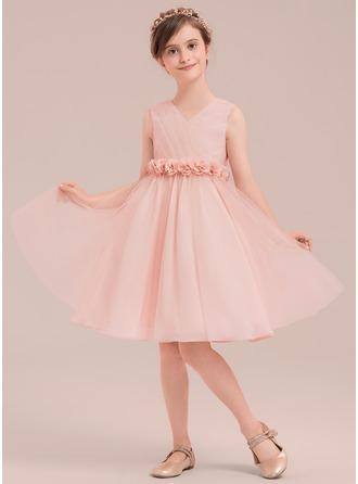 Forme Princesse Longueur genou Robes à Fleurs pour Filles - Tulle Sans manches Col V avec Fleur(s)