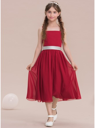 A-Line/Princess Square Neckline Tea-Length Chiffon Junior Bridesmaid Dress With Bow(s)