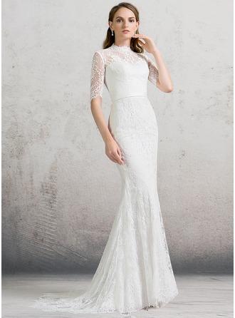 Sheath/Column High Neck Sweep Train Lace Wedding Dress