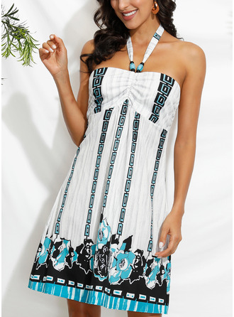 Print Shift Sleeveless Mini Sexy Vacation Dresses