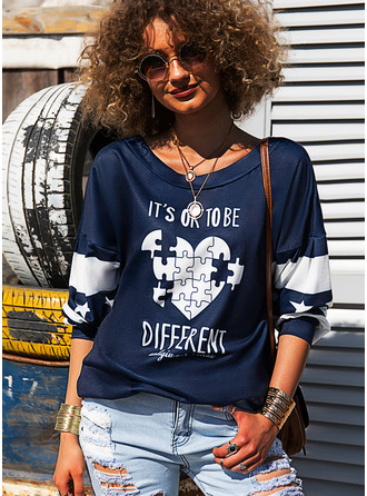 Color Block Print Figure Heart Round Neck Long Sleeves Sweatshirt