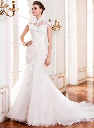 Corte trompeta/sirena Escote Alto Tren de la catedral Organdí Encaje Vestido de novia con Bordado Lentejuelas