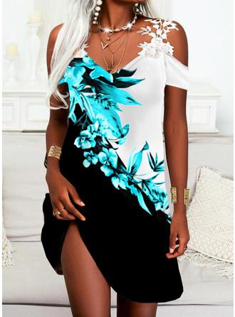 Color Block Floral Print Sheath Short Sleeves Mini Casual Dresses