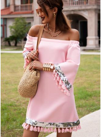 Solid Shiftklänningar 3/4 ärmar Mini Fritids Semester Tunika Modeklänningar