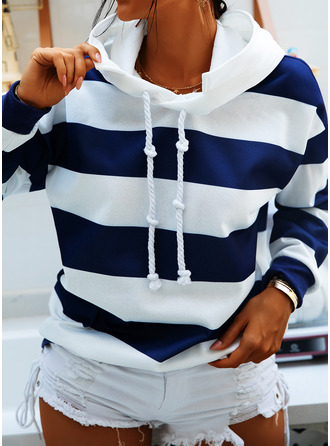 Color Block Striped Hoodie Long Sleeves Casual Blouses
