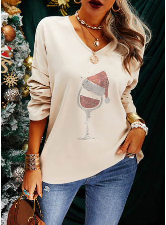 Sequins V-Neck Long Sleeves Christmas T-shirt