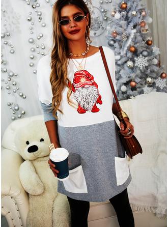 Blocchi di colore Stampa Girocollo Maniche lunghe Felpa natalizia