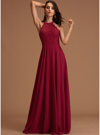 Scoop Neck Burgundy Chiffon Dresses