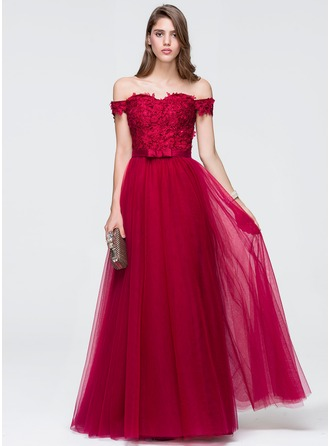 A-Line/Princess Off-the-Shoulder Floor-Length Tulle Prom Dress With Beading Sequins Bow(s)