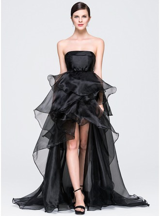 A-Line/Princess Strapless Asymmetrical Organza Evening Dress With Bow(s) Cascading Ruffles