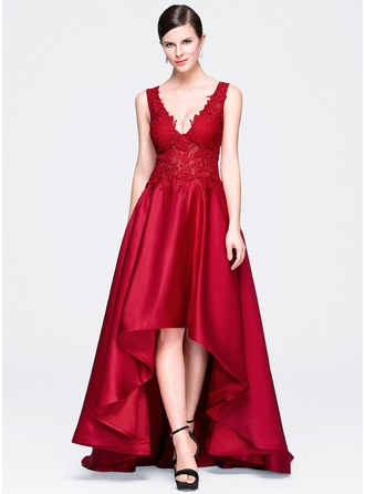 A-Line/Princess V-neck Asymmetrical Satin Lace Evening Dress