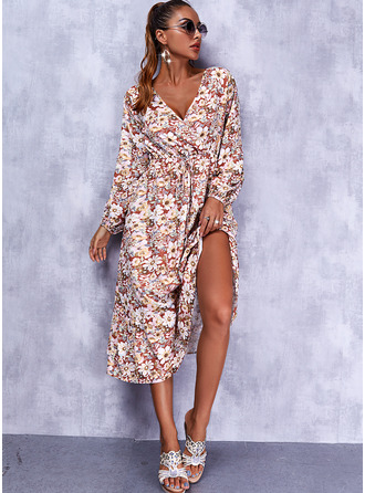 Bloemen Print A-lijn-jurk Lange Mouwen Medium Casual schaatser ()