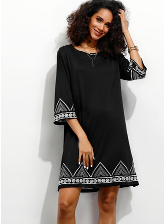 Print Shift 3/4 Sleeves Mini Casual Elegant Tunic Dresses