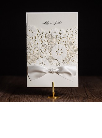 Artistic Style Wrap & Pocket Invitation Cards With Ribbons (Set of 50)