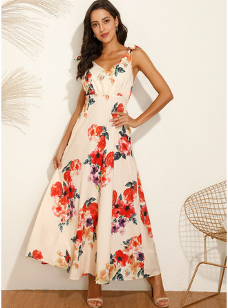 Maxi V neck Polyester Print Sleeveless Fashion Dresses