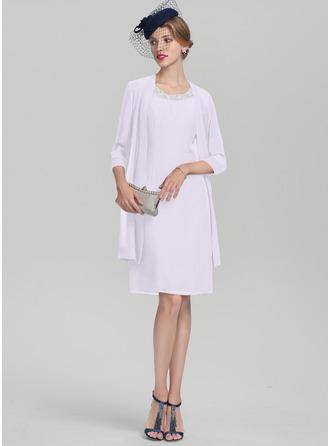 Vestidos princesa/ Formato A Decote redondo Coquetel Tecido de seda Vestido para a mãe da noiva com Beading