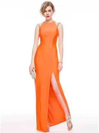 Sheath/Column Scoop Neck Floor-Length Jersey Evening Dress With Sequins Split Front