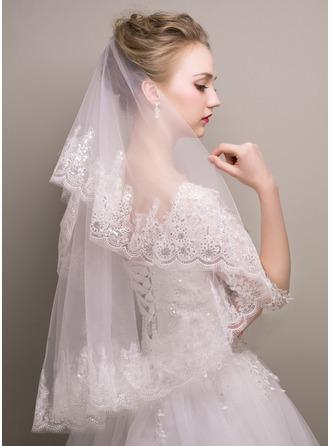 One-tier Sequin Trim Edge Waltz Bridal Veils With Sequin
