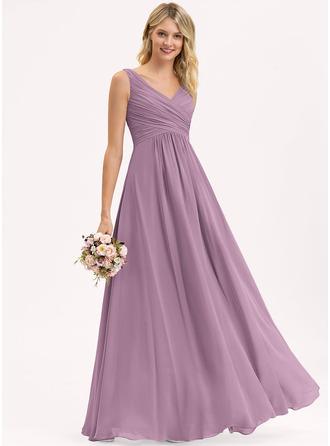 A-Line/Princess V-neck Floor-Length Chiffon Bridesmaid Dress With Ruffle