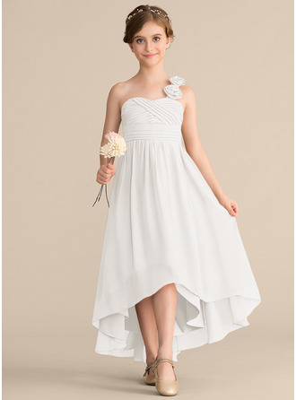 A-Linie Eine Schulter Asymmetrisch Chiffon Kleid für junge Brautjungfern mit Rüschen Blumen Schleife(n)