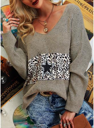 V-Ausschnitt Lässige Kleidung Pailletten Leopard Farbblock Pullover