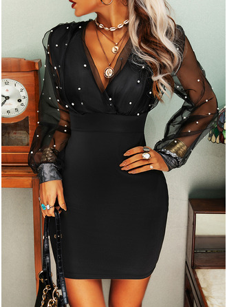 Solid Bodycon Long Sleeves Mini Party Elegant Dresses