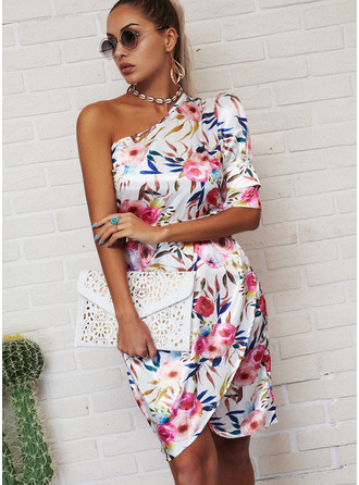 Floral Print Bodycon 1/2 Sleeves Mini Party Elegant Dresses
