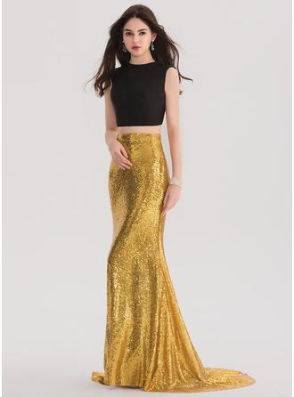 Trumpet/Mermaid Scoop Neck Sweep Train Sequined Prom Dresses