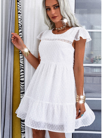 Lace Solid A-line Cap Sleeve Mini Casual Skater Dresses