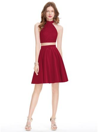 A-Line Scoop Neck Knee-Length Satin Homecoming Dress