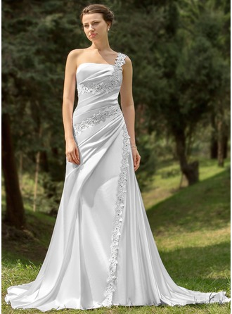 A-Line/Princess One-Shoulder Chapel Train Charmeuse Wedding Dress With Ruffle Beading Appliques Lace