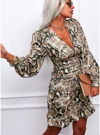 Print Sheath Long Sleeves Puff Sleeves Mini Elegant Dresses